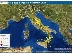 INGV, MAPPE SISMICITA' MENSILE: NOVEMBRE 2020