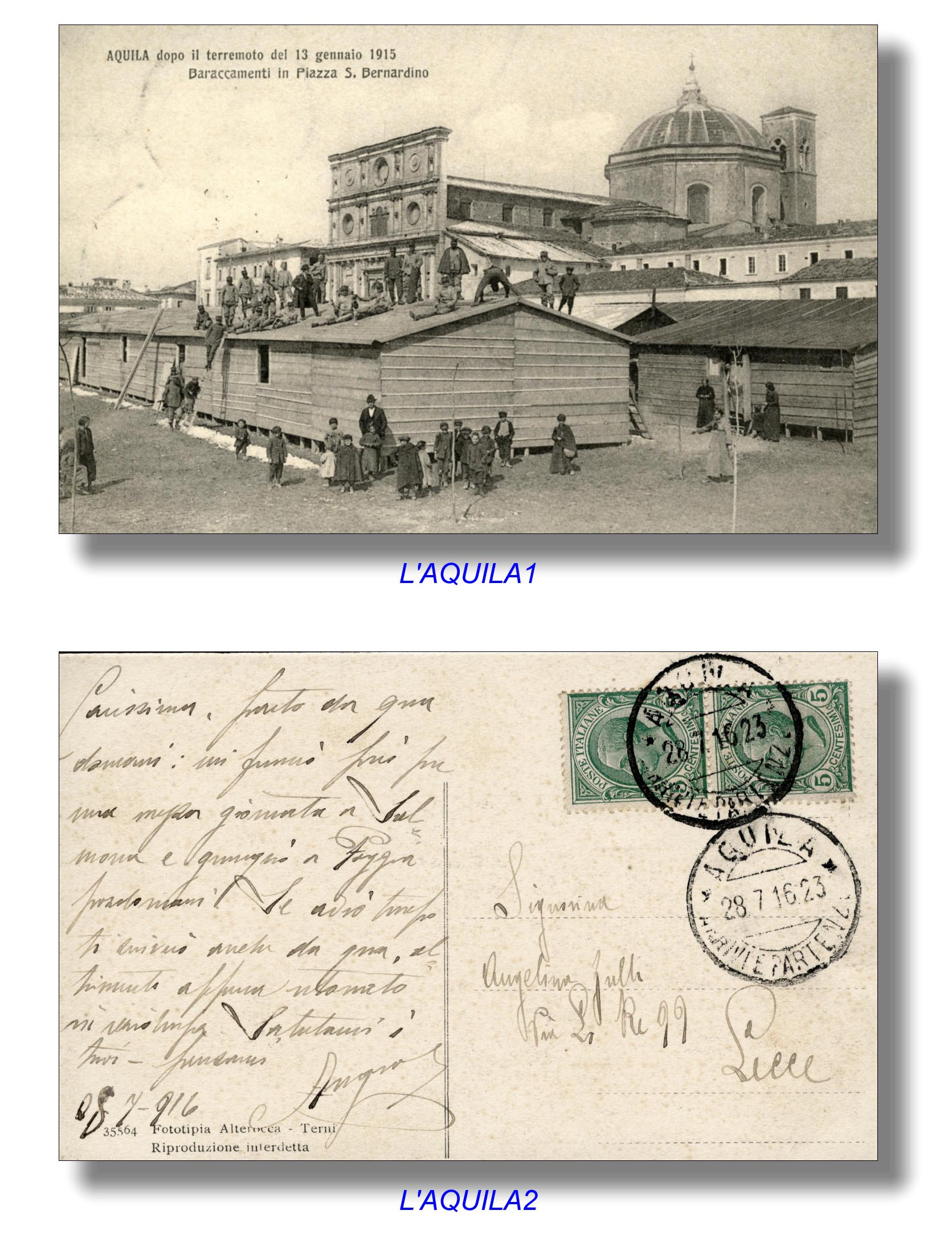 L'Aquila cartolina 1915