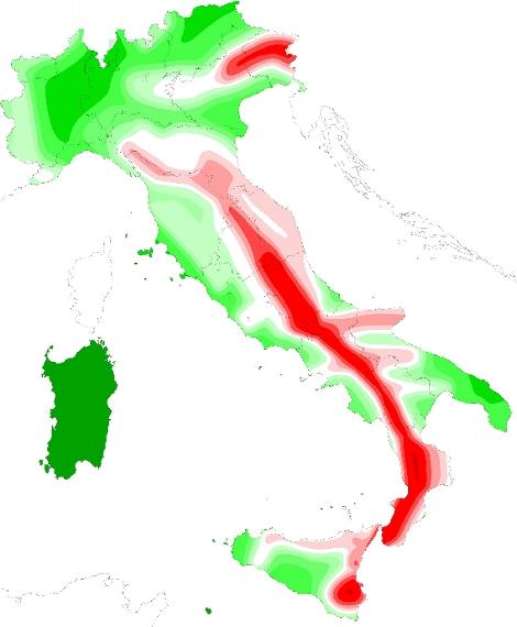 Elevato rischio sismico nel 44 del territorio italiano for Rischio sismico in italia