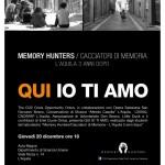 """""""QUI IO TI AMO"""": IL 20/12 I CACCIATORI DI MEMORIA RACCONTANO L'AQUILA"""