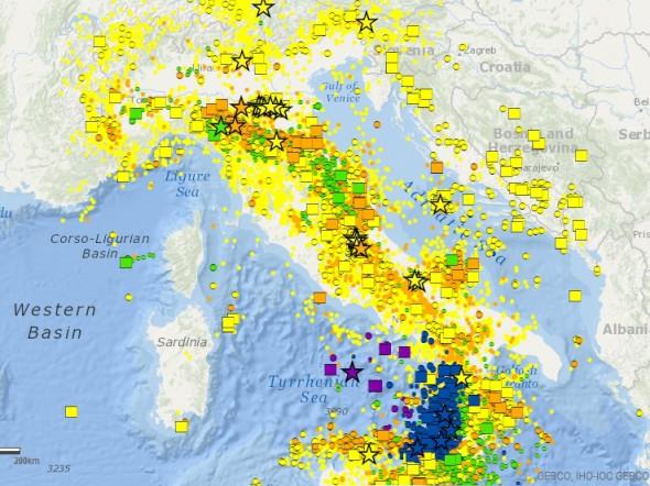 I terremoti registrati dall'INGV in Italia dal 2000 al 2012