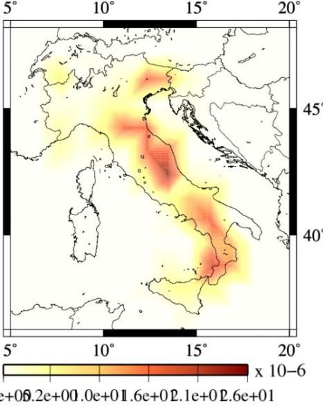 La mappa INGV con le aree maggiormente a rischio di forte terremoto per i prossimi 10 anni