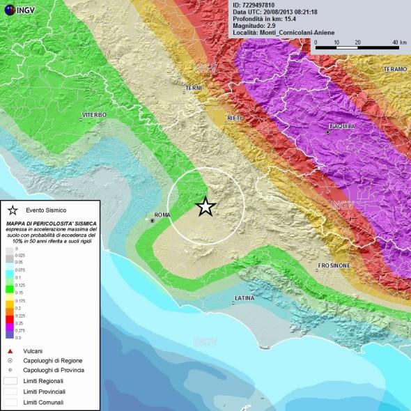 Mappa di pericolosità sismica nella zona delle scosse