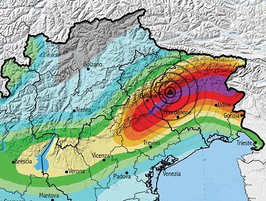 Epicentro della scossa e pericolosità sismica della zona