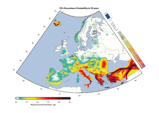 European Seismic Hazard Map: PGA, 475 years return period