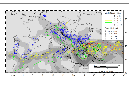 Euro-Mediterranean strain rate map with superposed faults colored by slip rate.