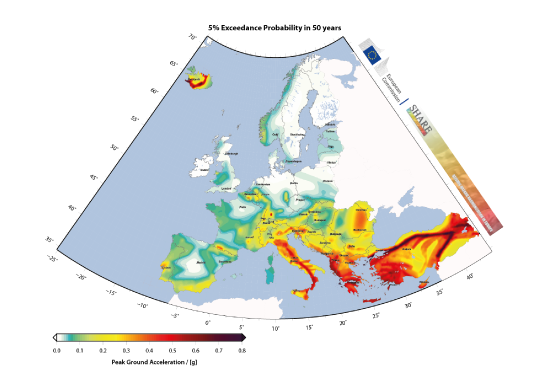 European Seismic Hazard Map: PGA, 975 years return period.