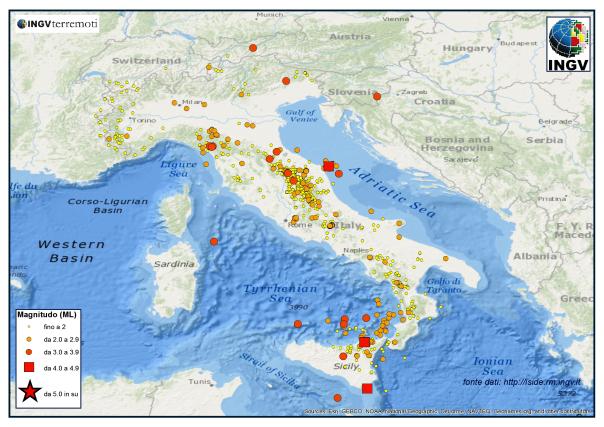 I terremoti dal 1 al 31 agosto 2013