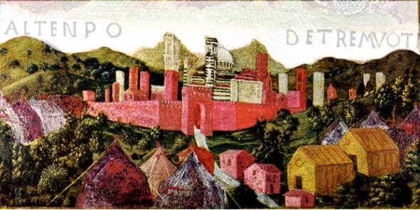 """Siena - Terremoto di Siena del settembre 1467. La tempera su tavola è di Francesco di Giorgio Martini (1439-1501): si tratta di una delle tavolette che costituivano la copertina dei registri delle Biccherne, una magistratura finanziaria del comune di Siena (Archivio di Stato di Siena). Il terremoto interrompe la vita urbana e induce precarietà e insicurezza. Le città colpite vogliono ricordare in modo ufficiale l'abitare in baracche e tende come una quotidianità spezzata. """"Molti artisti intendevano lasciare ai posteri non solo una immagine del danno subito, ma anche la rappresentazione sociale di quell'evento"""", spiega la sismologa storica Guidoboni. E il caso del dipinto con tende e baracche fuori dalle città di Siena (1467). Conservate negli archivi, questa come altre testimonianze spesso rimosse e sottovalutate, sono memoria ufficiale di un evento catastrofico e luttuoso."""