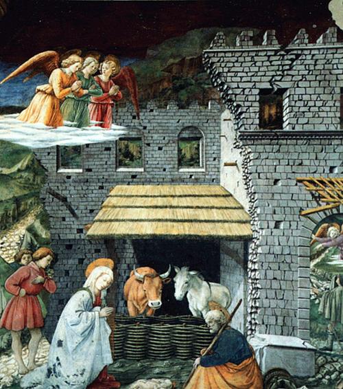 Appennino centro-meridionale - Affresco di Filippo Lippi (1406-1469) nell'abside del duomo di Spoleto. Una natività ambientata in un edificio semi crollato e lesionato, ricorda ai posteri la povertà e la precarietà abitativa dopo un terremoto. È una forte traccia emotiva lasciata dai terremoti del 5 e 30 dicembre 1456 dell'Appennino centro-meridionale, uno degli eventi più tragici della storia sismica d'Italia, in cui furono distrutti centinaia di paesi.
