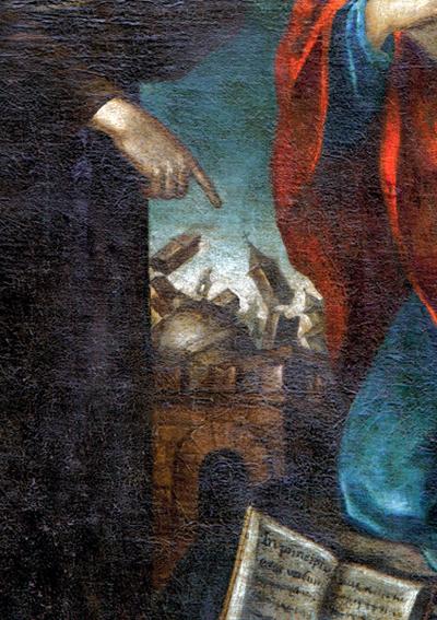 Cento (Ferrara) - Particolare della città fortemente scossa da un terremoto, probabilmente lo stesso che il 17 novembre 1570, colpì la vicina Ferrara. La tela è di Giovanni Battista Tinti (1558-1604). Cento ha subito danni anche dai terremoti del maggio 2012 (Pinacoteca comunale di Cento).