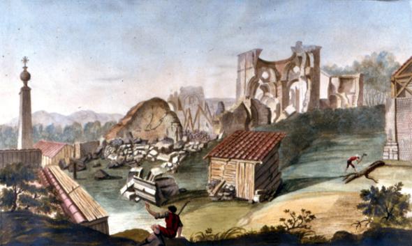 Rosarno - Calabria, terremoti del febbraio-marzo 1783: una sequenza di cinque forti sismi in due mesi (ciascuno con centinaia di forti scosse) lasciò distrutta la Calabria centrale e meridionale. Qui sono rappresentate le rovine di Rosarno: è una delle molte tavole – qui acquarellata - di Pompeo Schiantarelli  e Ignazio Stile, elaborate durante la loro missione sul campo voluta dall'Accademia delle Scienze in Napoli, la prima organizzata da una istituzione in Italia. Le tavole sono inserite nell'Atlante in appendice al grande lavoro di M. Sarconi Istoria de' Fenomeni del Tremoto avvenuto nelle Calabrie e nel Valdemone nell'anno 1783 (Napoli, 1784).