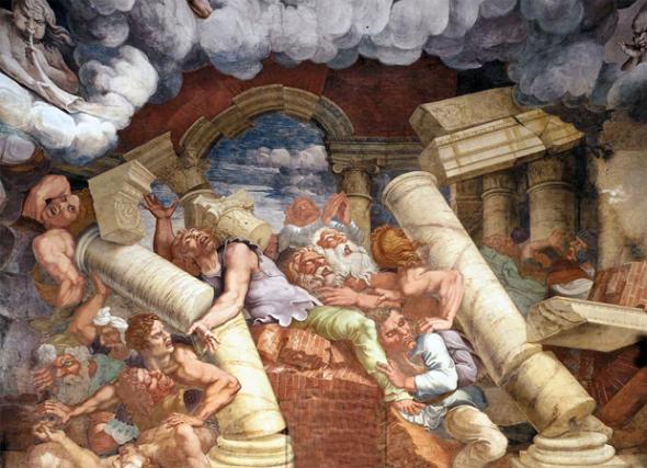 Mantova - Il grande affresco nella Sala dei Giganti nel Palazzo Tè di Mantova, realizzato da Giulio Romano e Rinaldo Mantovano nel 1528-1533, può essere visto anche come una rappresentazione artistica del terremoto.