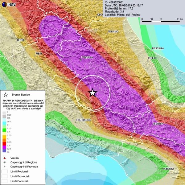 Mappa di pericolosità sismica del territorio nazionale (GdL MPS, 2004; rif. Ordinanza PCM del 28 aprile 2005, n. 3519, All. 1b) espressa in termini di accelerazione massima del suolo con probabilità di eccedenza del 10% in 50 anni, riferita a suoli rigidi (Vs30>800 m/s; cat. A, punto 3.2.1 del D.M. 14.09.2005).