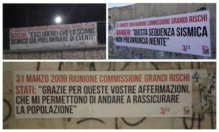 L'Aquila: striscioni per ricordare la riunione della Commissione Grandi Rischi del 31 marzo 2009