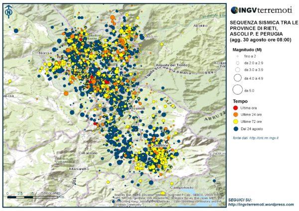 La mappa della sequenza sismica aggiornata al 30 agosto alle ore 08:00.