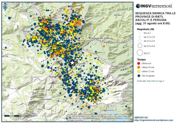 a mappa della sequenza aggiornata alle ore 8.00 italiane del 31 agosto.