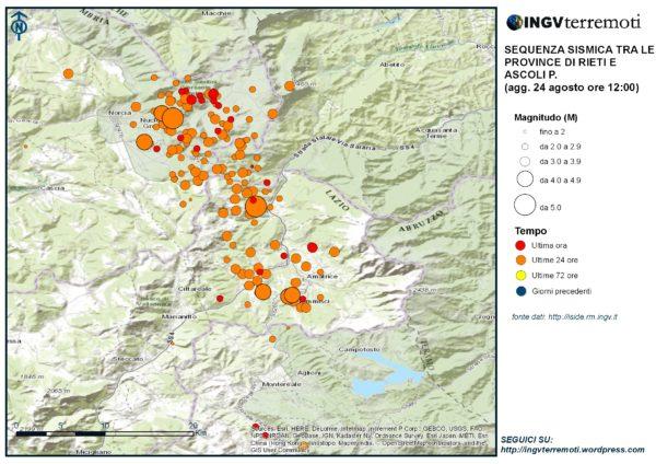 venti sismici localizzati dalle ore 03:36 alle ore 12.00 italiane tra le province di Rieti, Perugia, Ascoli Piceno, L'Aquila e Teramo
