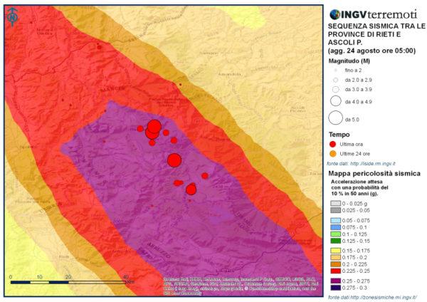 Mappa della pericolosità sismica con gli eventi della sequenza in corso sovrapposti.