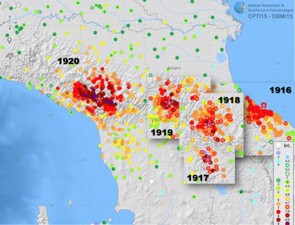 'area interessata dalla serie di forti terremoti fra 1916 e 1920 [fonte: DBMI15]