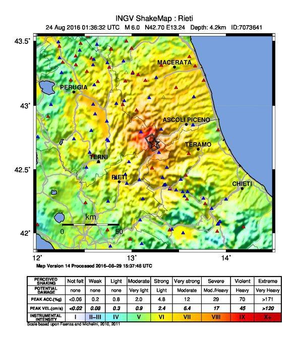 Terremoto, ingv: ecco la 'shakemap' del sisma del 24 agosto, m. 6.0