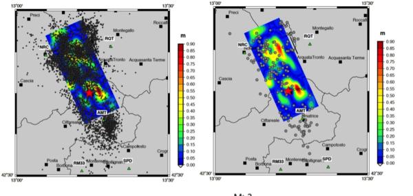Confronto tra la distribuzione degli aftershocks e la distribuzione di slip sul piano di faglia principale (proiezione sulla superficie). Il modello di sorgente riportato in figura è quello derivante dall'inversione dei dati accelerometrici (doi 105281/zenodo.61460). Nel pannello di sinistra sono riportate le localizzazioni di tutti gli aftershocks – indipendentemente dalla magnitudo – mentre nel pannello di destra sono graficate solo quelle con magnitudo superiore a 3.