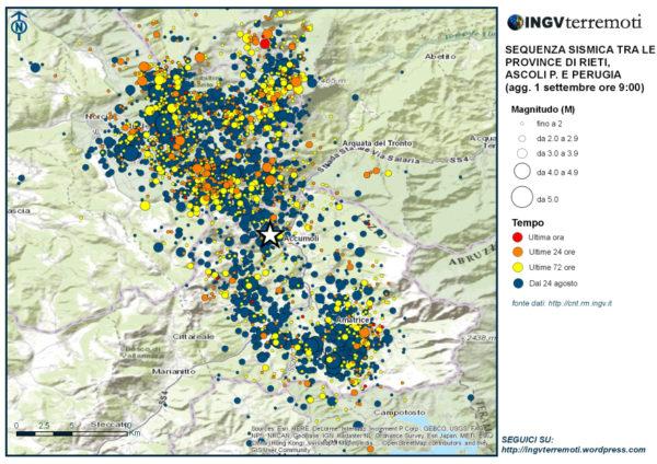 La mappa della sequenza sismica in Italia Centrale aggiornata al 1 settembre alle ore 09:00 italiane.