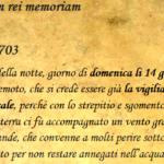 CIRCA LE DUE ORE DELLA NOTTE, GIORNO DI DOMENICA LI 14 GENNAIO 1703, FU' COSI' TERRIBILE TERREMOTO