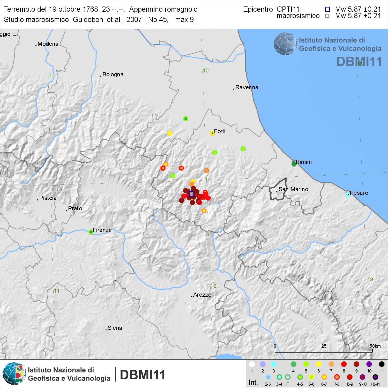 Accadde oggi terremoto appennino romagnolo 19 ottobre for Ingv lista terremoti di oggi