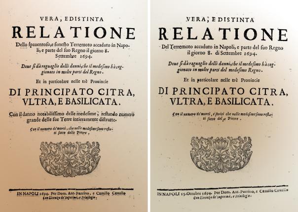Frontespizio delle due relazioni anonime pubblicate a Napoli con notizie sui danni causati dal terremoto dell'8 settembre 1694. La seconda, pubblicata circa un mese dopo la prima, riporta informazioni più precise.