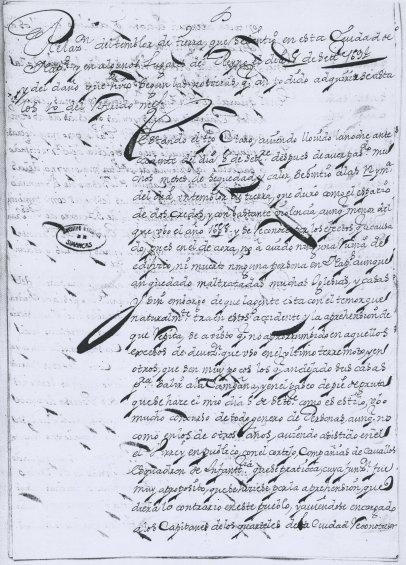 Relazione sui danni causati dal terremoto inviata a Madrid dal viceré di Napoli conte di Santisteban conservata all'Archivo General de Simancas.