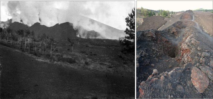 Attività esplosiva lungo la frattura eruttiva apertasi sul Rift di Nord-Est nel 1911 (a sinistra, fonte: Catalogo Fondo G. Ponte). La frattura eruttiva come si presenta oggi (a destra, foto R. Azzaro).