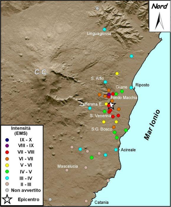 Distribuzione degli effetti macrosismici del terremoto del 15 ottobre 1911 (fonte: CMTE).