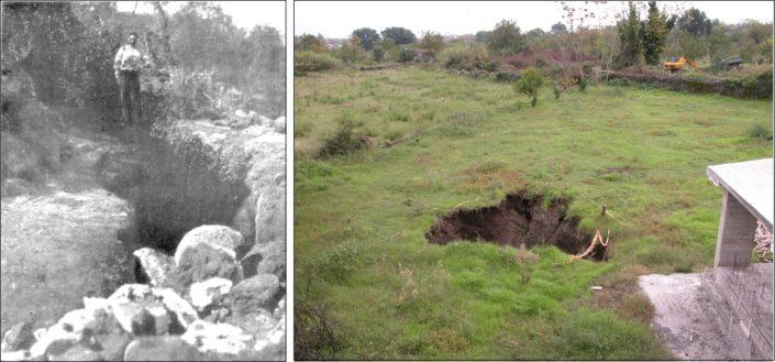 Fondo Macchia, ampia spaccatura al suolo prodotta dal movimento della faglia durante il terremoto del 1911 (a sinistra, da Riccò, 1911). Frattura messa in luce da intensi fenomeni meteorici nel 1995 (a destra, foto R. Azzaro).