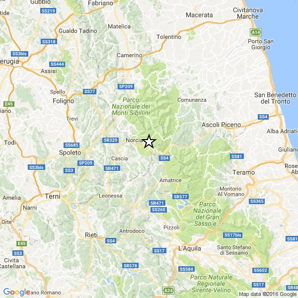 Terremoto centro italia, continua lo sciame: scossa magnitudo 4.1 a norcia