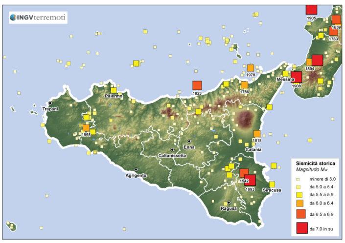 I terremoti degli ultimi mille anni in Sicilia [fonte: http://emidius.mi.ingv.it/CPTI11].