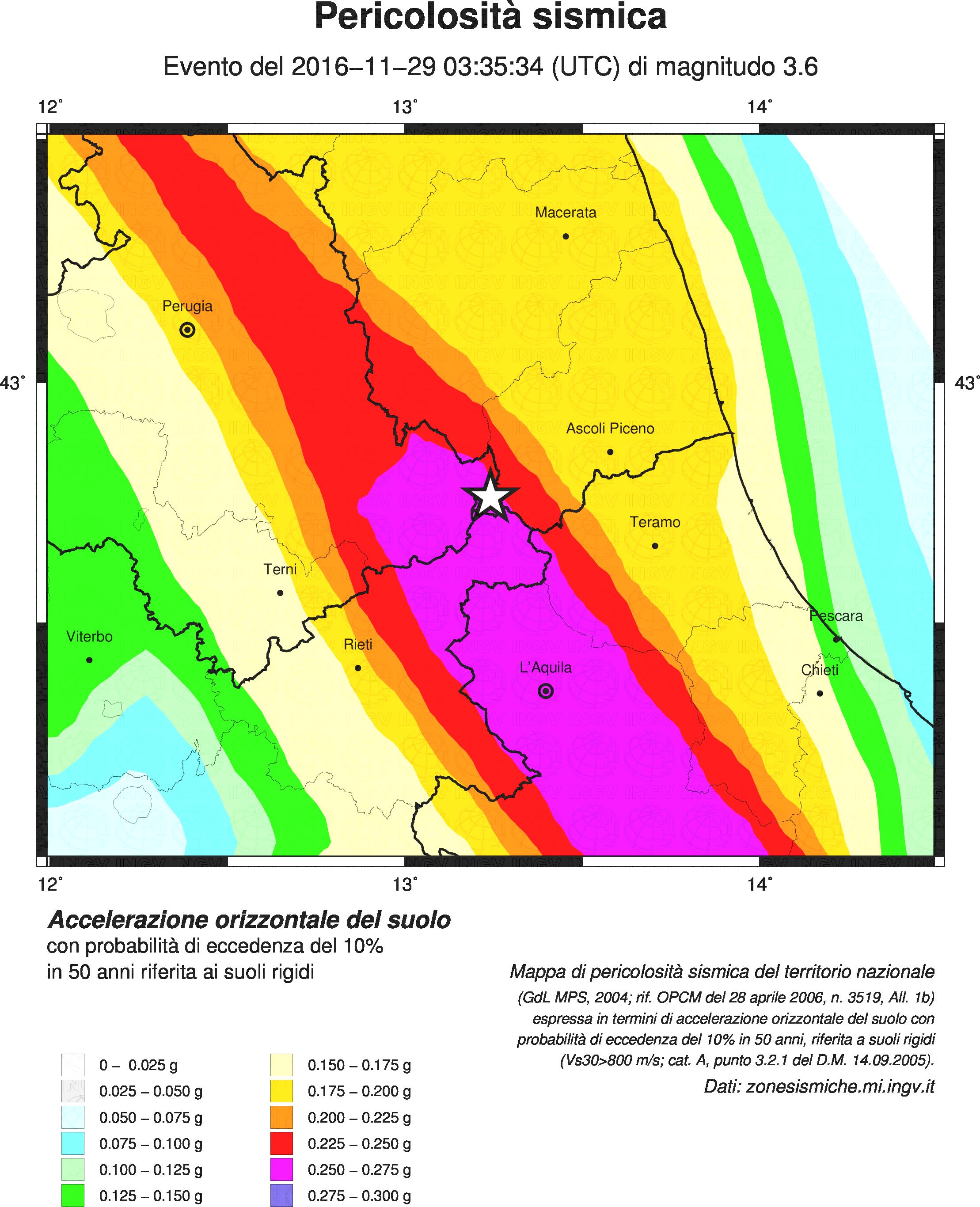Terremoto: ancora una notte di scosse, le piu' forti magnitudo 3.6 e 3.4
