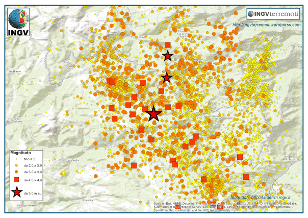 L'area della sequenza sismica in Italia Centrale dove si sono stati localizzati gli eventi più forti negli ultimi giorni di ottobre (la stella più grande rappresenta l'epicentro dell'evento di magnitudo 6.5 del 30 ottobre).