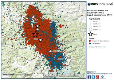 Figura 1 - La mappa della sequenza sismica dal 24 agosto