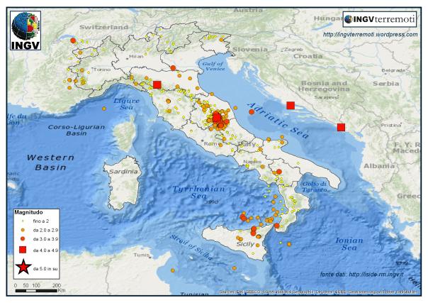 I terremoti localizzati dalla Rete Sismica Nazionale nel mese di dicembre 2016.